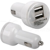 WHITE TWIN DOUBLE USB CAR CHARGER MICRO ADAPTER FOR SAMSUNG GALAXY S5 MINI PHONE