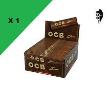OCB Slim Unbleached boite/box de 50 carnets de feuilles à rouler longue slim