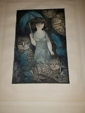 Vintage JUDITH BLEDSOE Woman w/ Cats EMBOSSED LITHOGRAPH Print Signed / Numbered
