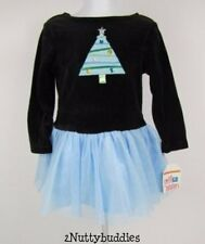 SWEET POTATOES NWT BLACK VELOUR BLUE TULLE JEWELED CHRISTMAS TREE DRESS 3T R-$49