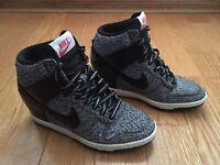 Nike Dunk Sky Hi TXT 644410-001 Hidden Wedge Sneakers Women Size 5 Black Grey