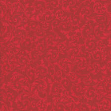 Half Metre Quilting Fabric ~ Long Live Vintage ~ Curly Motif ~ Red
