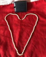 """36"""" Stand Hand Knotted Faux Pearl Necklace In Kralls Ltd Box Light Peach"""