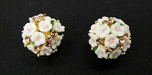 White and Pink Rose Flowers Earrings with Champagne Golden Color Crystals - NEW