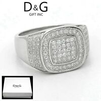 DG Mens 925 Sterling Silver,CZ Iced-out Eternity Wedding Ring 7 8 9 10,11 12*Box