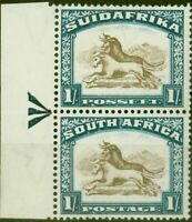 South Africa 1932 1s Brown & Dp Blue SG48 V.F Lightly Mtd Mint Vertical Pair