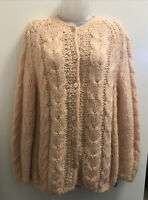 VTG HAND MADE IN ITALY WOOL/MOHAIR KNIT CARDIGAN SWEATER Peach In Color