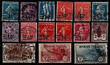 L'ANNÉE 1926 Complète, Oblitérés = Cote 190 € / Lot Timbres France 217 à 232