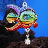 WOODSTOCK CHIMES FANTASY GLASS - CORAL FISH - Swarovski crystal accent rainbow