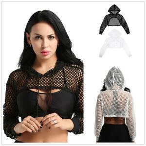 Womens Casual Fishnet Hollow Out Hooded Sweatshirt Long Sleeve Crop Tops Hoodies