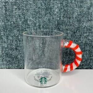 Starbucks Holiday 2020 Glass 12 oz Candy Cane Handle Mug Cup Christmas Brand New