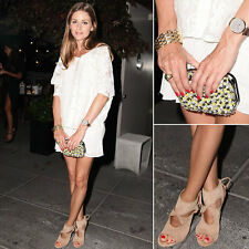 Olivia Palermo x Zara Sequined Clutch Yellow White Black Suede
