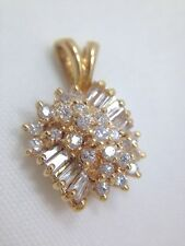 1ct Diamond Pave Custom Pendant for Necklace 14k Yellow Gold FMGE 585 Cluster