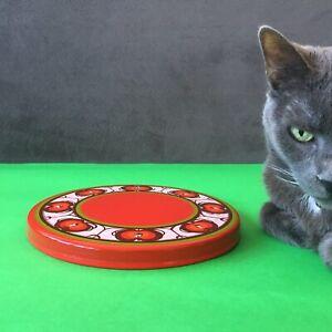 """Vintage Red Green Enamel Stove Burner Cover 7-3/4"""""""