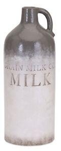 "16"" Terracotta Grain Milk Co. Jug Country Farmhouse Gray White Weathered Finish"