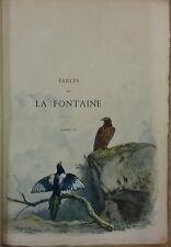 FABLES de LA FONTAINE 2 VOL 1883 - 2 AQUARELLES et 75 planches à L'EAU-FORTE TBE