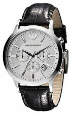 Orologio EMPORIO ARMANI da Uomo AR2432 Cronografo Acciaio Pelle Watch HerrenUhr