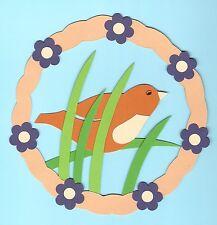 Fotokarton Fensterbild Sommer: Blumenreigen mit Vogel