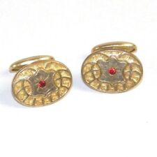Antique Victorian Edwardian Ruby Red Starburst Gold Plated Men's Cufflinks HA Co