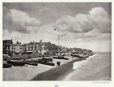 Deal luggers on beach, 1893 antique print in 11 x 14 mount ready to frame SUPERB