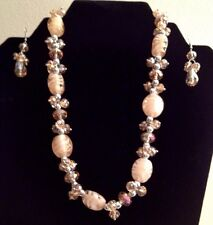 Crystal And Handblown Glass Bead Necklace And Earrings In Pale Peach