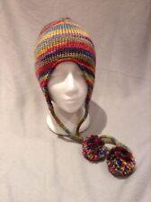 Schuessler Knitting Mills, Inc Acrylic Knit Hat Cap W/ Pom Poms Euc long tassels