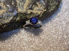 2.55 C VVS1 Round Ceylon Indigo Blue Sapphire/Accents .925 Silver Ring Size US7