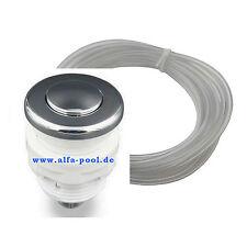 """Drucktaster Pneumatik Schalter Chrome 1"""" AG (D32mm) inkl. 5m PN Schlauch 3mm ID"""