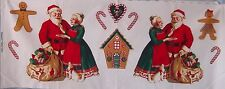Santa & Mrs Clause Gingerbread House Candy Canes Appliques Fabric Panel