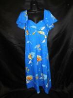 Vintage 70s Hawaii Nei S Blue Yellow Floral Hawaiian Maxi Dress Sleeveless Beach