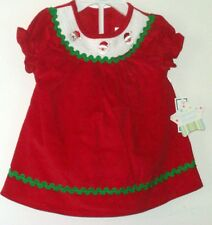 New Nursery Rhyme Christmas Dress Red Corduroy White Smocking  SZ 9 Mos NWT