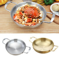 18cm 20cm 22cm Paella Pan Stainless Steel Non-stick Seafood Cooker Camping