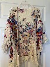 UMGEE Women's Size Small Cream Floral Open Front Kimono Duster Fringe Boho