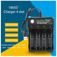 BMAX USB Battery Charger Black 4 Slot For 18350 18650 14500 Li-ion Battery  New