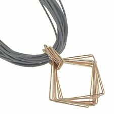 Magnetic Fashion Jewellery: Taupe Leather Necklace with Rose Gold Diamond Sha...