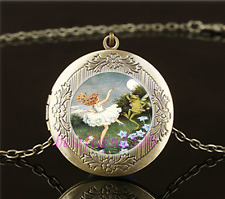 Vintage Fairy And Frog Dance Cabochon Glass Brass Locket Pendant Necklace