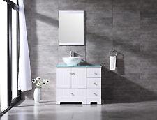 "36.2"" White Bathroom Cabinets Round Vessel Sink Mirror Tempered Glass Countertop"
