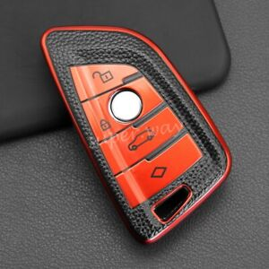 Red Leather Texture Smart Key Case Cover For BMW 1 2 3 4 5 6 7 8 Series X1 X2 X3