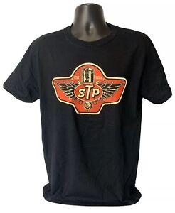 STP T-Shirt - Black w/ Established 1954 Red Piston Wings Logo - Vintage Look