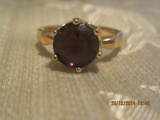 Yellow Gold Filled Deep Purple Swar Crystal Solitaire Ring  - Size 7