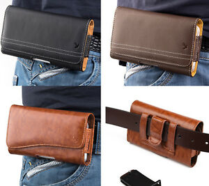 """For LG K51 (6.6"""" x 3.5"""") - Leather Belt Clip Pouch Holster Phone Card Slot Case"""