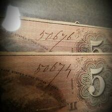 Pair of 1864 $5 Confederate States of America Notes - very close serial numbers