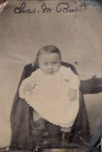 Tin Type Photo of Baby Hidden Mother Arm From side ID'd at the Top of the Photo