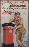 1916 COMIC GEORGE A. BAMBER GENTLEMAN POSTING a LETTER POSTCARD sent to RHYL