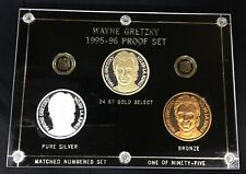 WAYNE GRETZKY 1995-96 PROOF SET 3 COINS BRONZE 24 KT SEL. GOLD 1 oz. SILVER 1/95
