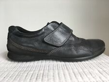 Ecco 41 Gray Leather Flat Shoes Hook & Loop Strap Closure Women's Casual Comfort
