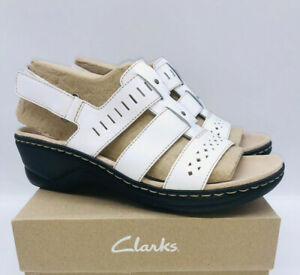 Clarks Collection Women's Lexi Qwin Leather Cut-Out Sandals White