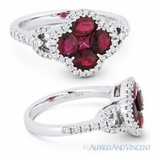 Pave 18k White Gold Right-Hand Flower Ring 1.73ct Oval & Princess Ruby & Diamond