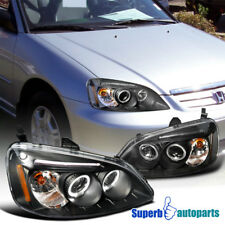 For 2001-2003 Honda Civic JDM Projector Headlights Head Lamps Black SpecD Tuning