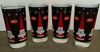 """Vintage """"JACK'S""""  Holt Howard Christmas Santa 12oz. Tumbler Glass Black Red"""